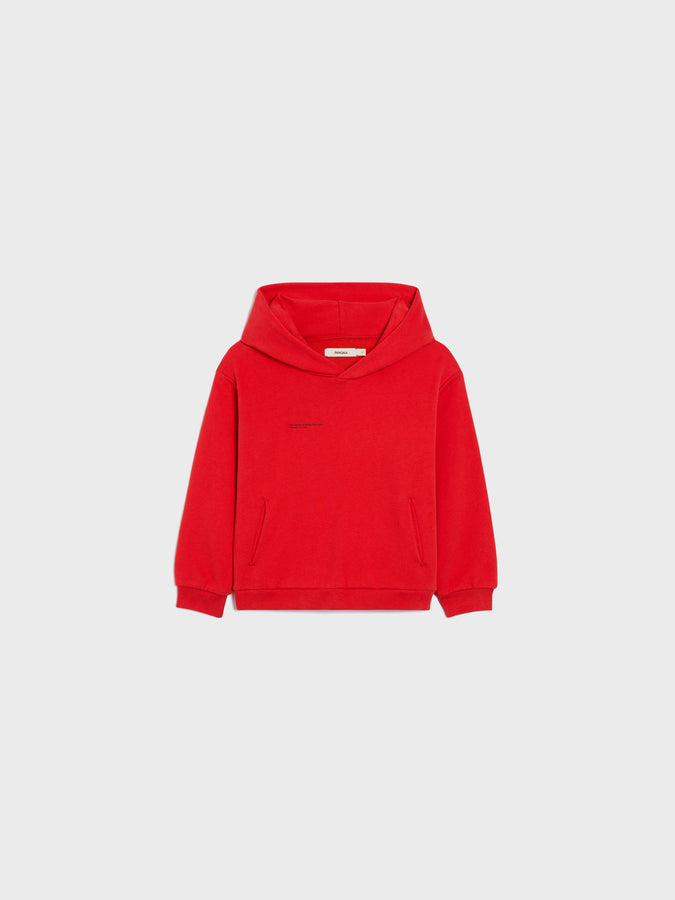 Kids organic cotton hoodie—apple red