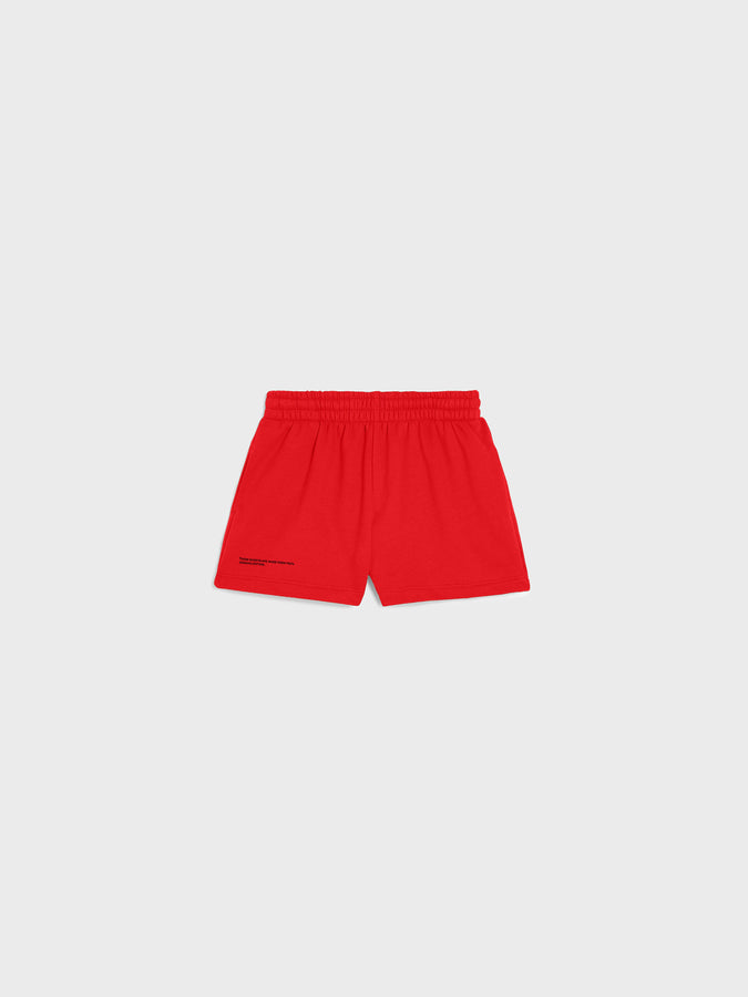 Kid's organic cotton shorts—apple red