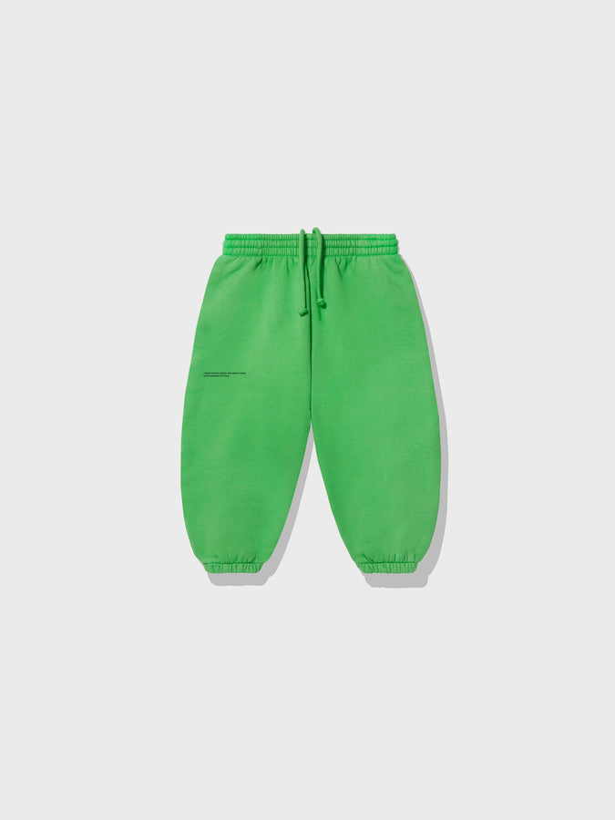 Kids lightweight organic cotton track pants—jade green