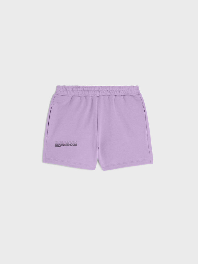 Lightweight recycled cotton shorts—orchid purple