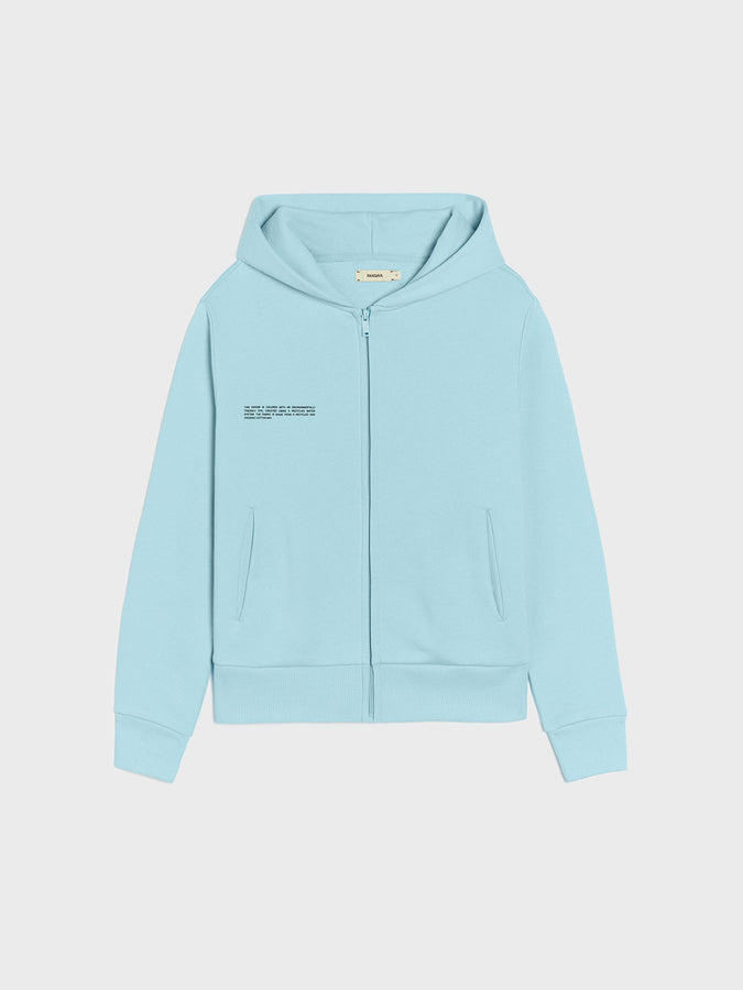 Lightweight recycled cotton fitted zipped hoodie—celestial blue