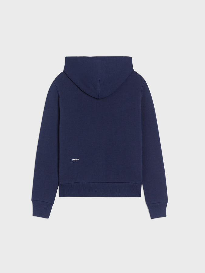 Lightweight recycled cotton fitted zipped hoodie—navy blue