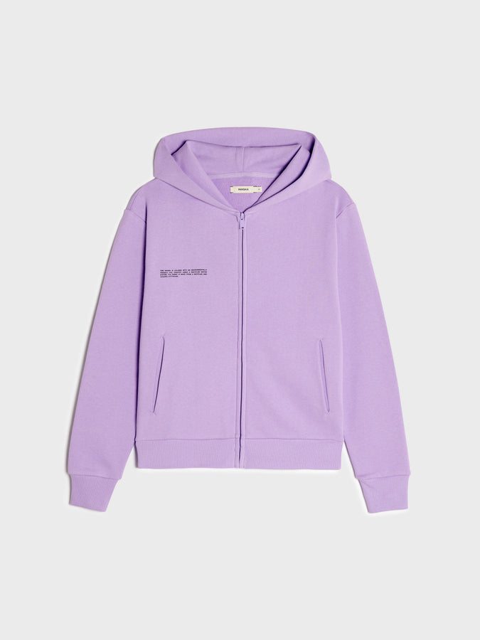 Lightweight recycled cotton fitted zipped hoodie—orchid purple