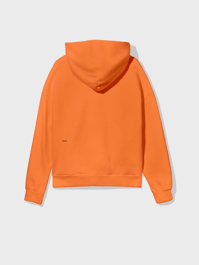 Lightweight recycled cotton hoodie—persimmon orange