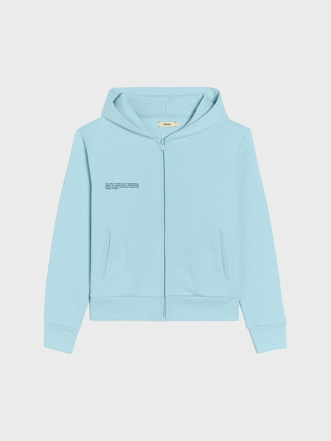Lightweight recycled cotton zipped hoodie—celestial blue