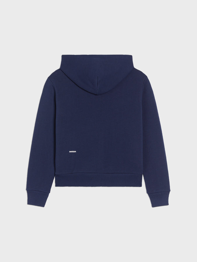 Lightweight recycled cotton zipped hoodie—navy blue