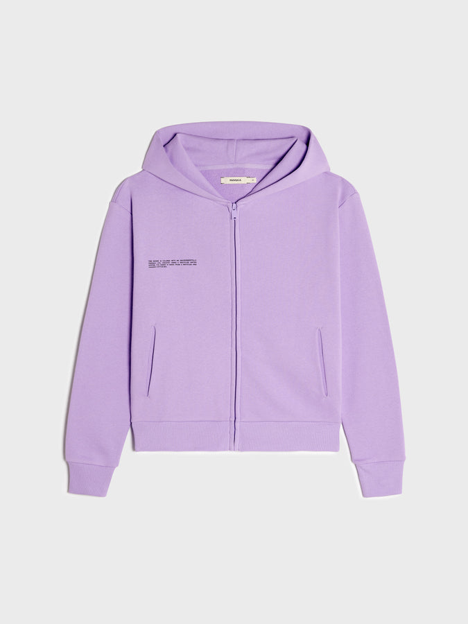 Lightweight recycled cotton zipped hoodie—orchid purple