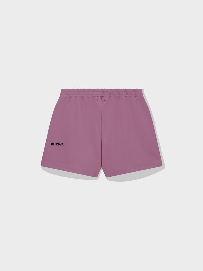 Lightweight recycled cotton shorts—plum purple