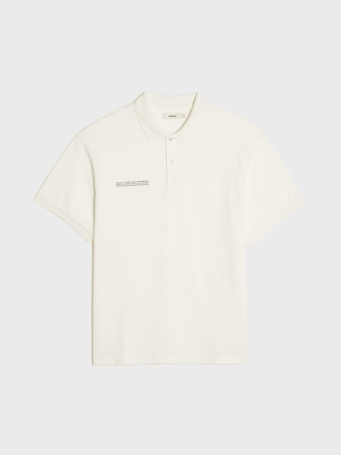 Organic cotton relaxed pique polo—off-white