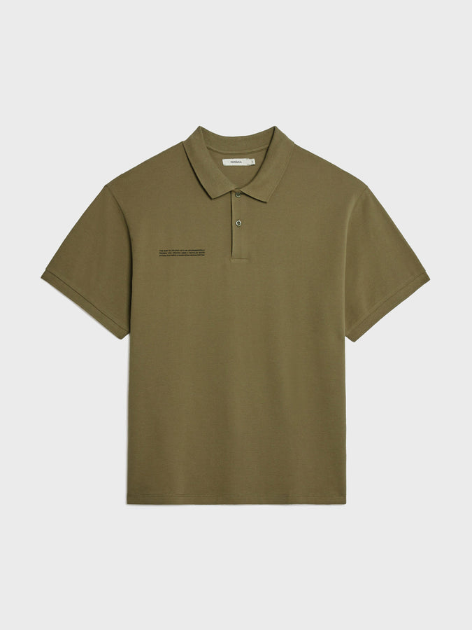 Organic cotton relaxed pique polo—olive green