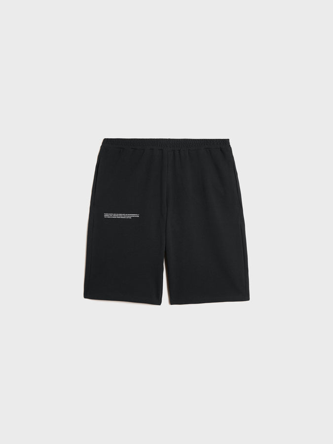 Organic cotton pique shorts—black