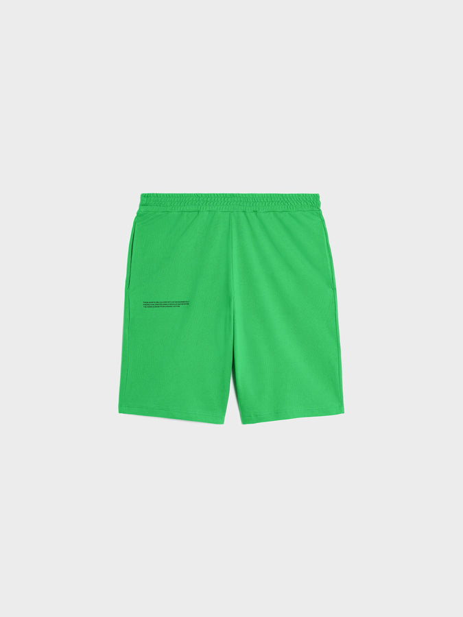 Organic cotton pique shorts—jade green