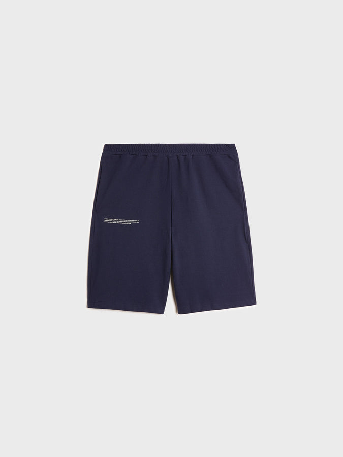 Organic cotton pique shorts—navy blue