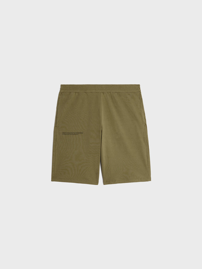 Organic cotton pique shorts—olive green