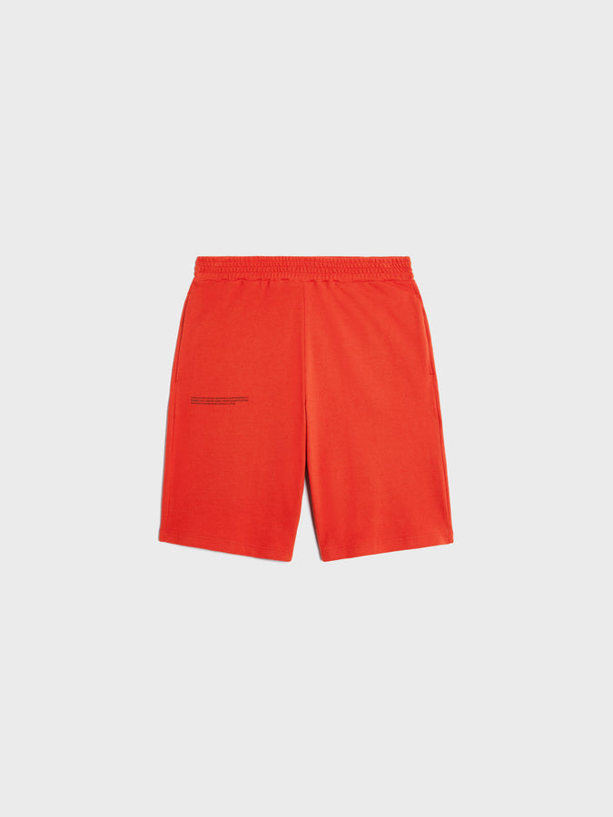 Organic cotton pique shorts—scarlet red