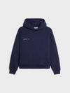 Heavyweight recycled cotton hoodie—navy blue