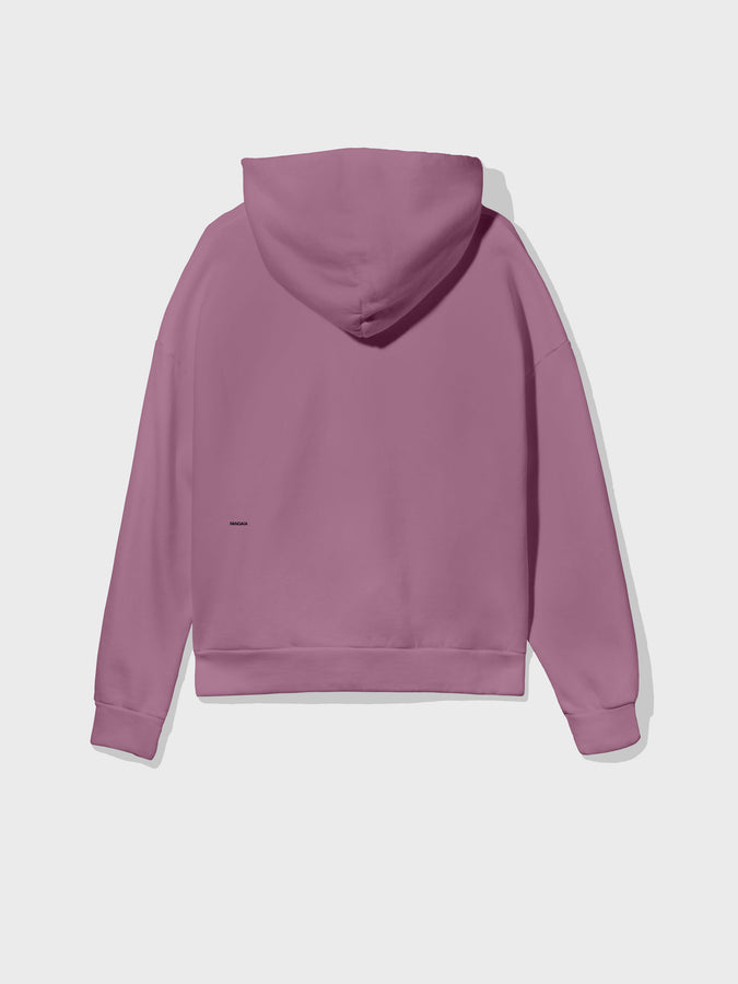 Recycled cotton hoodie—plum purple