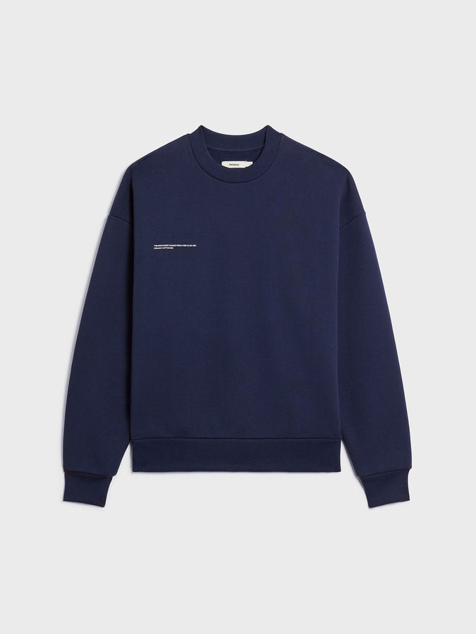 Heavyweight recycled cotton sweatshirt—navy blue