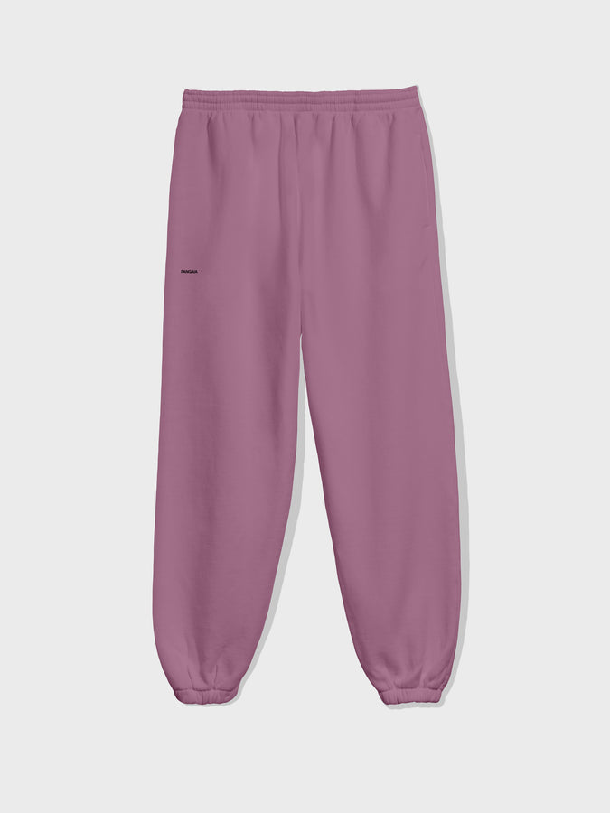 Recycled cotton trackpants—plum purple