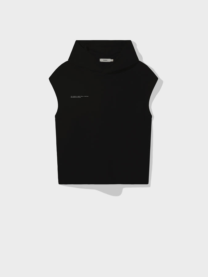Recycled cotton sleeveless hoodie—black