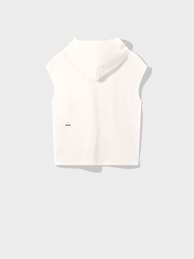 Recycled cotton sleeveless hoodie—off-white
