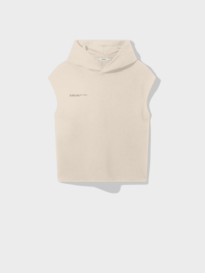 Recycled cotton sleeveless hoodie—sand