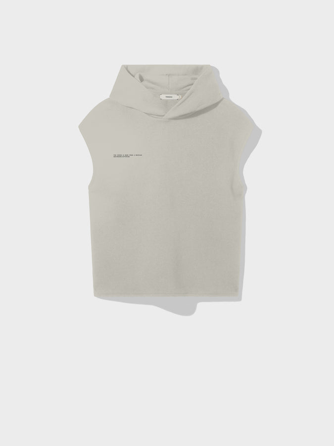 Recycled cotton sleeveless hoodie—stone