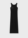 Organic cotton long tank dress—black