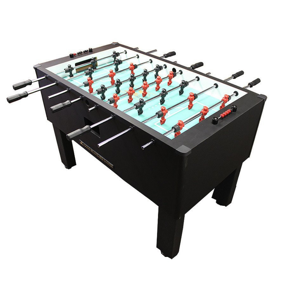 Gold Standard Games Home Pro Foosball Table in Carbon Fiber with Chrome Rods and Black Handles