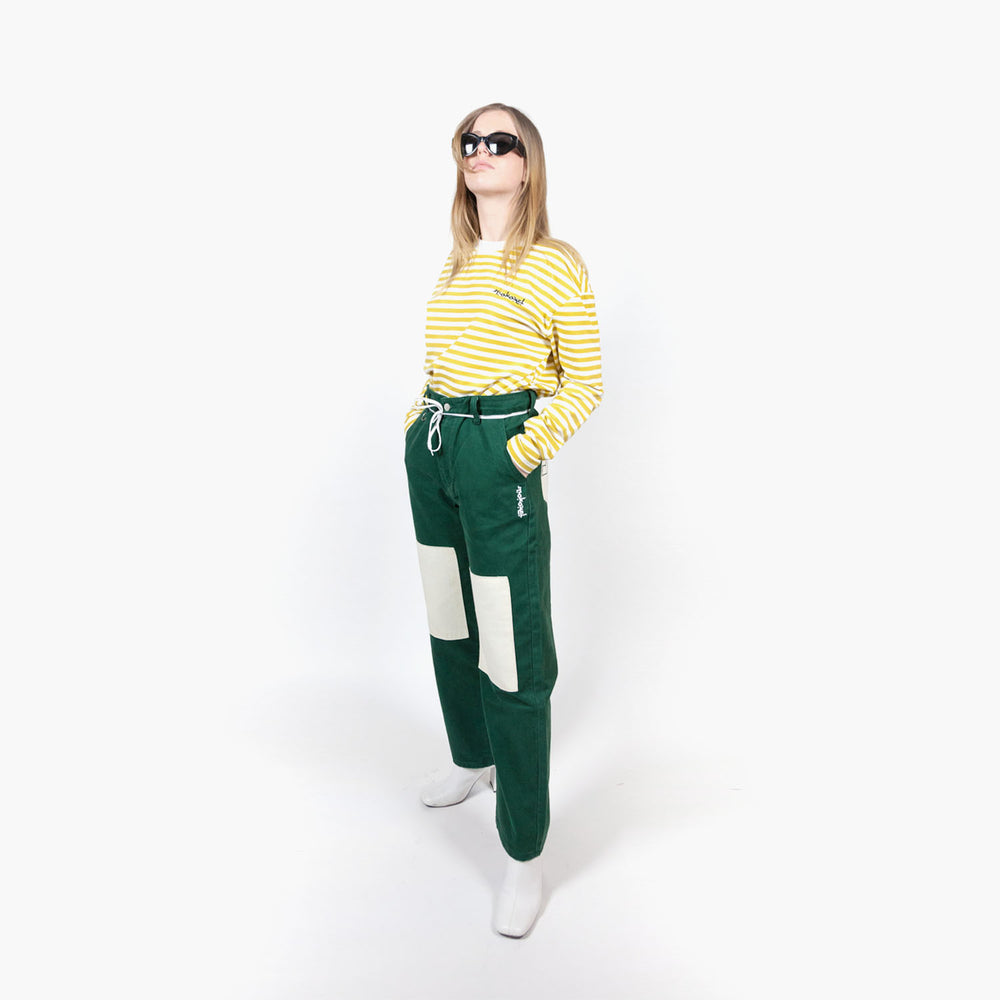 Load image into Gallery viewer, GREEN DOUBLE KNEE DENIM PANT