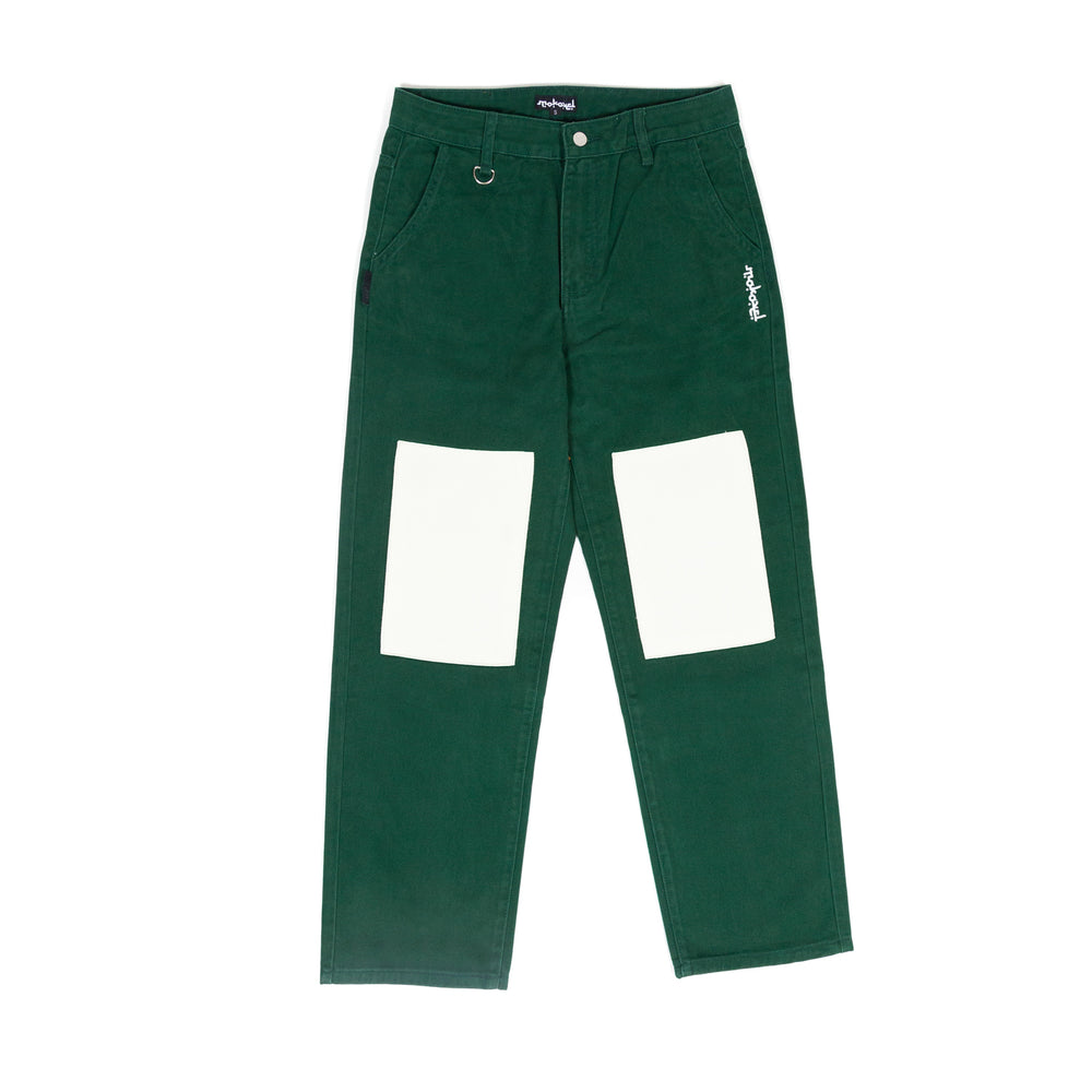 GREEN DOUBLE KNEE DENIM PANT