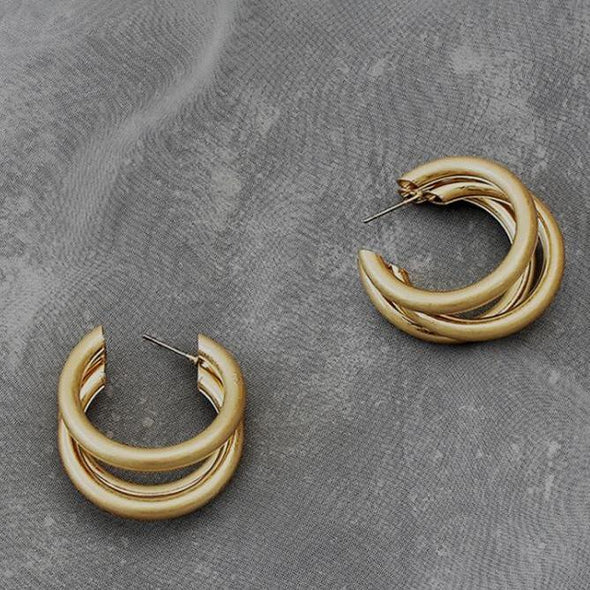 3-rings Stud Earrings in Gold Alloy