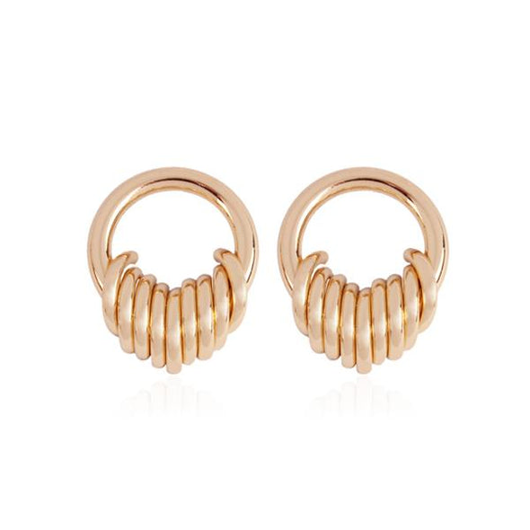 Exotic Style Multi-ring Winding Earrings in Gold Alloy