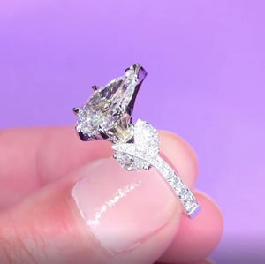 Cnvpk 2.3Ct Pear Cut Leaf Shape S925 Silver Engagement Ring