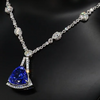 19 CT Trillion Cut Blue Sterling Silver Necklace