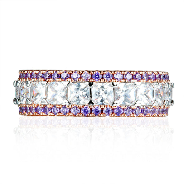Princess Cut Lab-created Sapphire Purple & White Rose Gold Women's Band in 925 Sterling Silver
