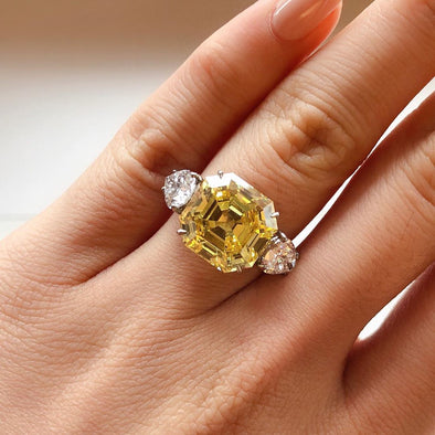9.22 CT Asscher Cut Yellow Sterling Silver Engagement Ring