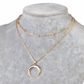 Simple Double Layer Clavicular Waning Moon Chain Necklace in Gold Alloy