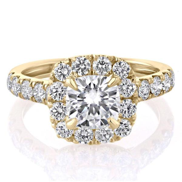 Cnvpk 2Ct Halo Cushion Cut 925 Silver Engagement Ring With Vintage Inspired Band