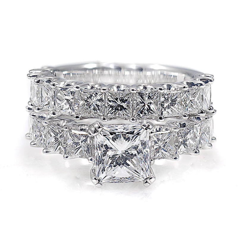 Cnvpk Classic 6.51 Ct Princess Cut U-Prong Bridal Set