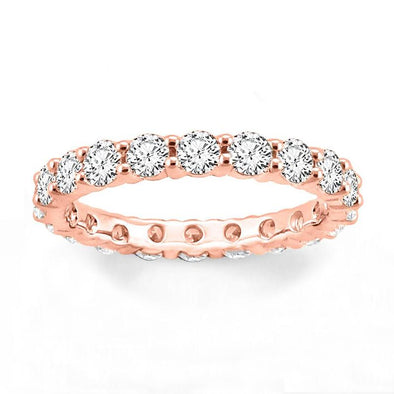 Round Cut Lab-created Sapphire Eternity Rose Gold Wedding Band in 925 Sterling Silver