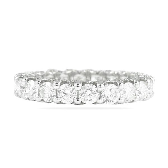 Round Cut Lab-Created White Sapphire Eternity Women's Band in 925 Sterling Silver