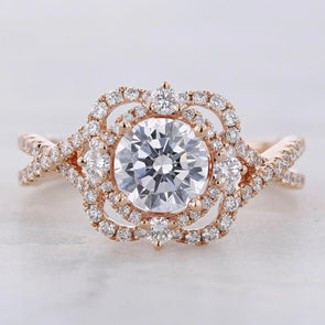 Vintage Round Cut Lab-created Sapphire Rose Gold Engagement Ring in 925 Sterling Silver