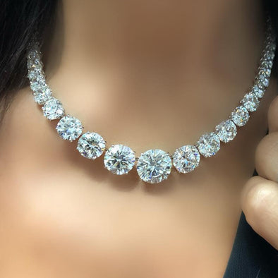 Luxury 21 CT Round Brilliant Lab-created Diamond Necklace in Sterling Silver