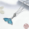 Charming Dolphin Whale Tail Pendant Necklace in 925 Sterling Silver