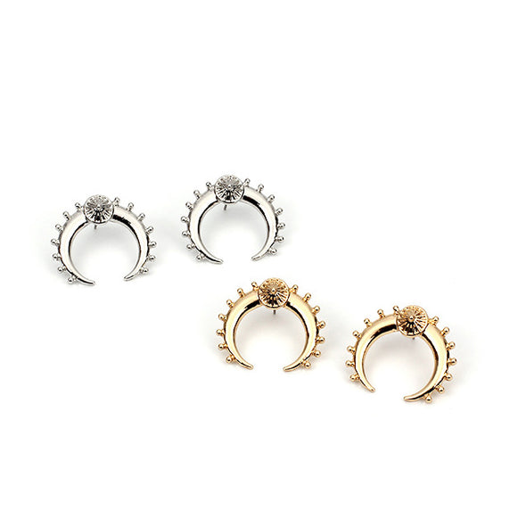 Unique Moon Stud Earrings in Silver Alloy