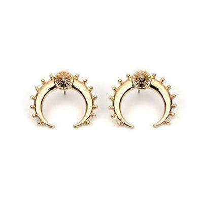 Unique Moon Stud Earrings in Gold Alloy