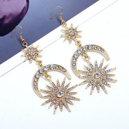 Vintage Star & Moon White Rhinestone Long Drop Earrings in Gold Alloy