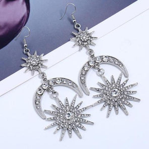 Vintage Star & Moon White Rhinestone Long Drop Earrings in Silver Alloy