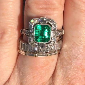 3 Pcs Vintage Emerald Cut Lab-created Sapphire Halo Wedding Set in 925 Sterling Silver